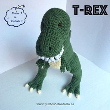 Patrón gratis para hacer un dinosaurio T-rex en amigurimi 3