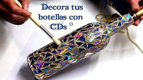 Diy botellas decoradas con CDs
