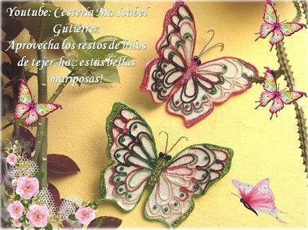 Crea mariposas con hilo sobrante
