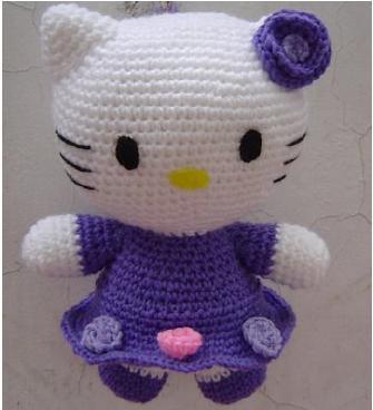 Hello Kitty patrón para hacer en amigurimi