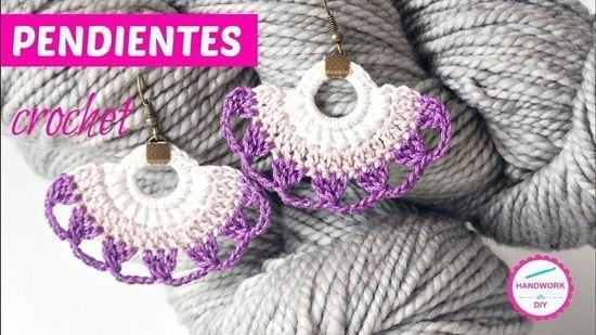 DIY como tejer a crochet pendientes con forma de abanico