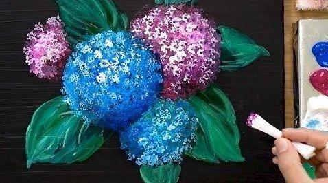 DIY para pintar muy fácil una hortensia con pintura acrílica