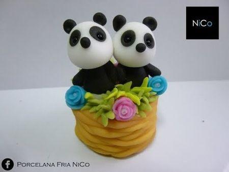 DIY pandas en canasta porcelana fría