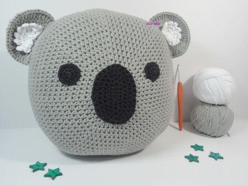Patrón cojín koala de ganchillo