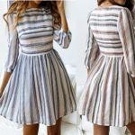 Vestido de manga 3/4 y falda fruncida