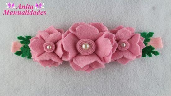 Diy+Molde para hacer una tiara con flores de fieltro