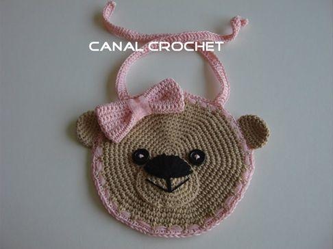 Diy + patrón para hacer un babero osito a crochet