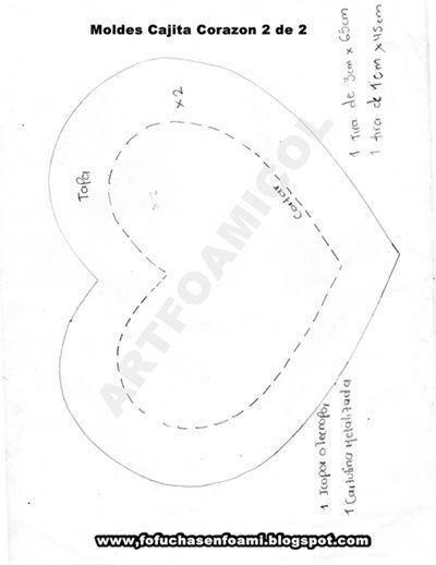 Caja para regalo corazón de foamy con moldes(molde 2)