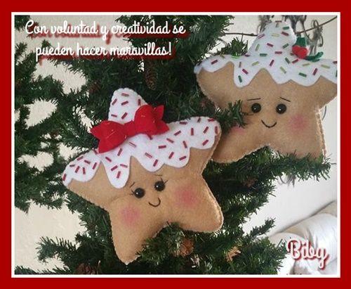 Estrellas de navidad para hacer en fieltro