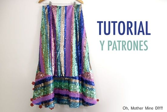 Falda de lentejuelas para mujer con patrones