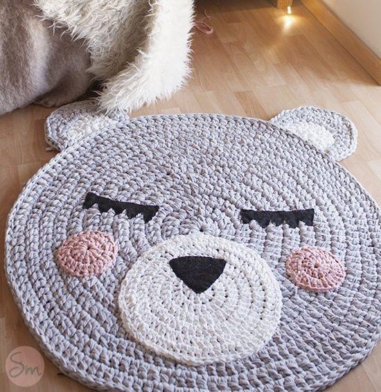 Alfombra Oso a crochet con patrón gratis