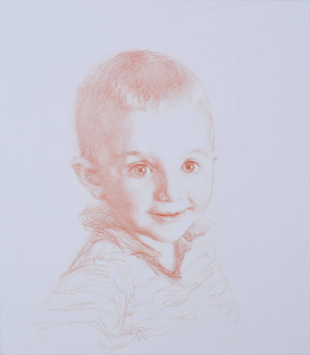 Portrait of Hector. Sanguine on paper 41x32 2020 Collection of Neilson family