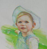 Portrait of Isla. Watercolour pencils on paper