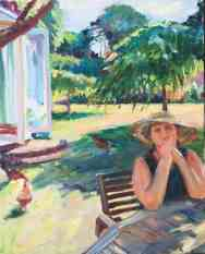 Elena Boliday in the garden. Portrait commission by British artist Marina Kim