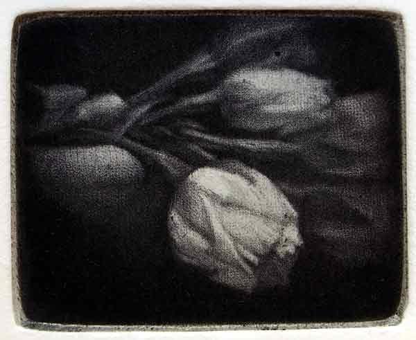 """Bouquet"" - black and white picture of a flowers. Original print mezzotint by painter-printmaker Marina Kim"