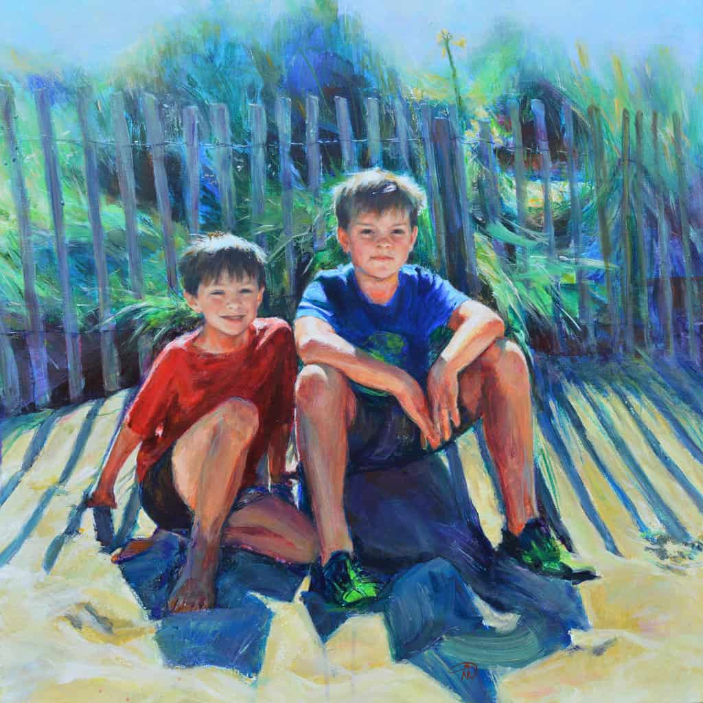 Commission portrait. Lucas and Alec Morton after at long day on the beach. Portrait artist Marina Kim