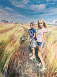 Portrait of Louisa and Fergus Lynch. Portrait commission painting by Marina Kim