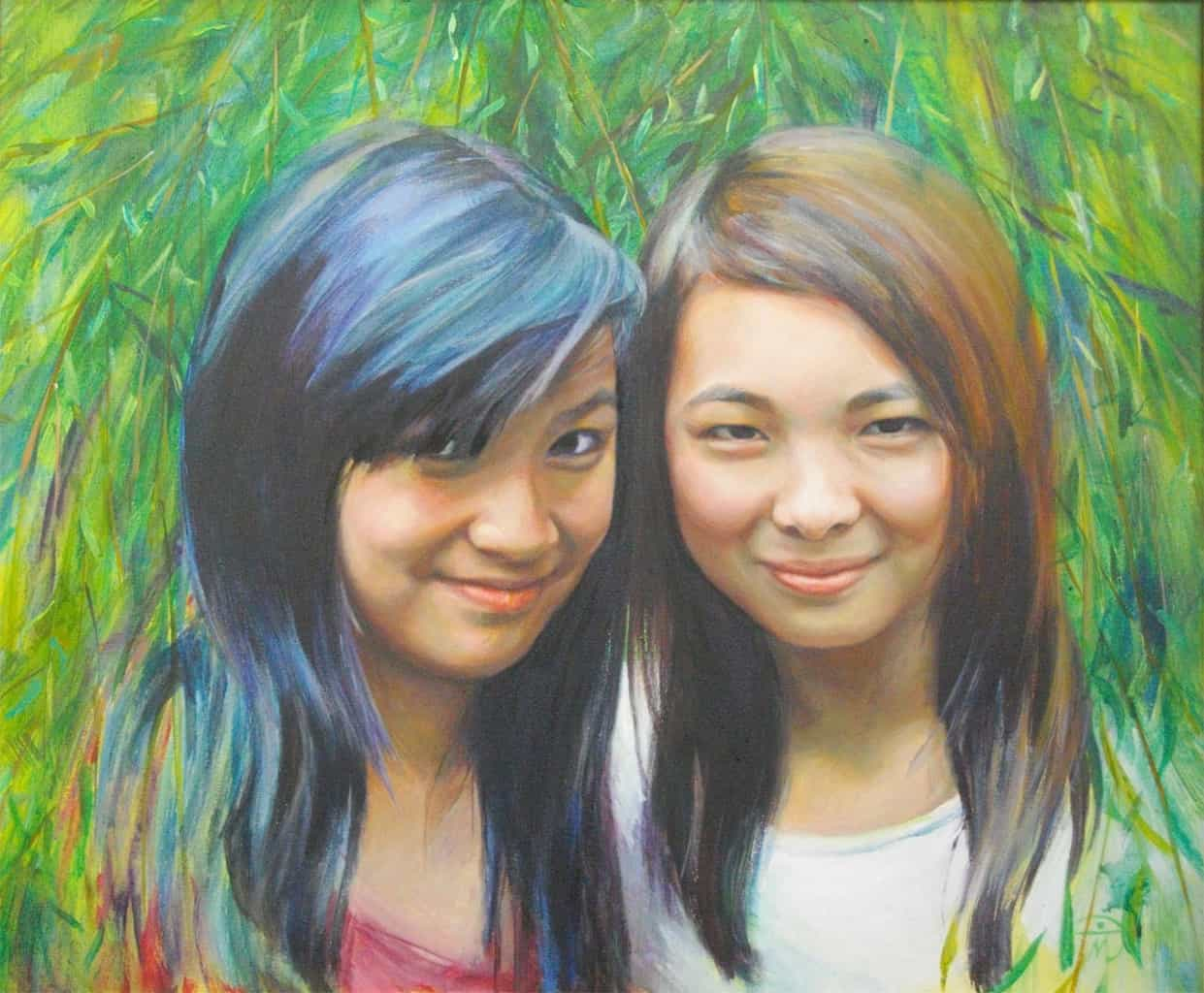 Portrait of Emma and Mia. Acrylic on canvas. Portrait commission painting by Marina Kim