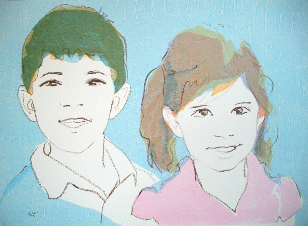 Portrait of Leo and Anna Marc. Monotype. Portrait commission. British artist Marina Kim