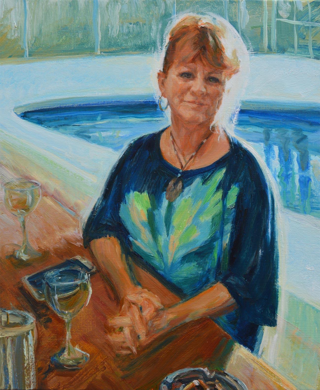 Portrait of Bobbie Wenburg by British portrait artist Marina Kim. Oil on canvas 46x38 cm