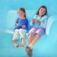 Portrait of Emma and Camilla Ryan. Commission portrait by Marina Kim