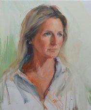 Portrait of Philippa Elliott. Portrait commission in oil on canvas by British artist Marina Kim