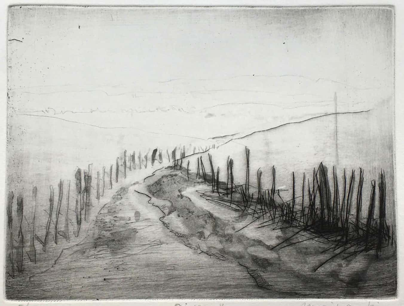 """""""River"""" - Line drawing of a river with muddy banks. English seaside landscape. Original print drypoint aquatint by painter-printmaker Marina Kim"""