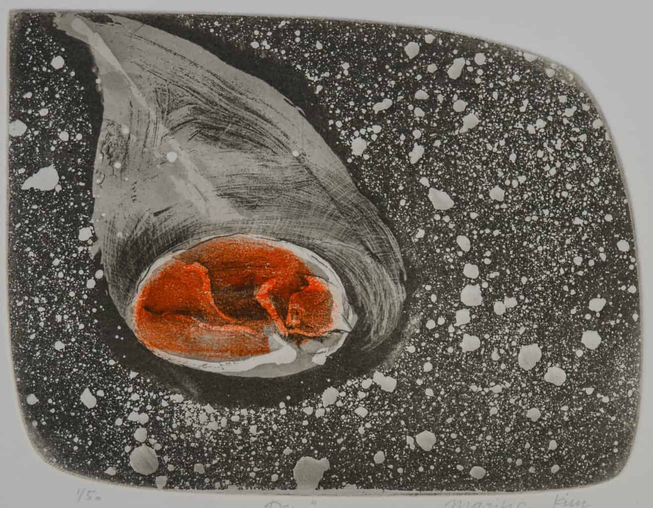 """""""Den"""" - black, white and orange picture of a fox curled up in a den. Original print drypoint with aquatint by painter-printmaker Marina Kim"""