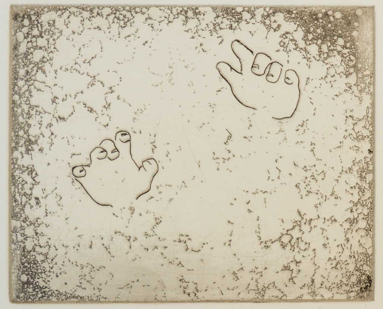 """""""Curiosity"""" - image from the """"Hands"""" series featuring various stances of gesturing hands. Original print etching by painter-printmaker Marina Kim"""