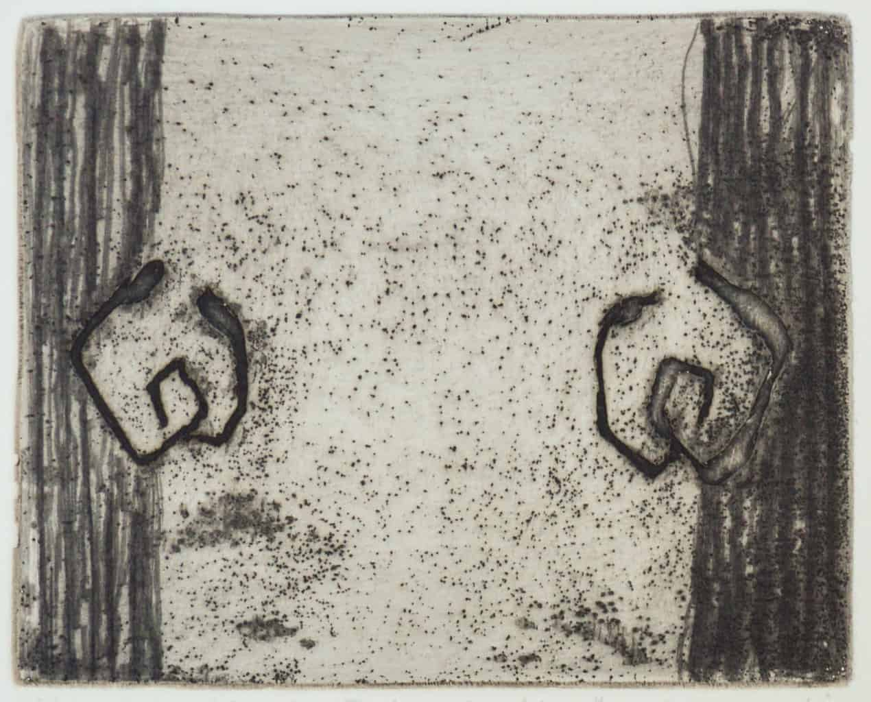 """""""Determination"""" - image from the """"Hands"""" series featuring various stances of gesturing hands. Original print etching by painter-printmaker Marina Kim"""
