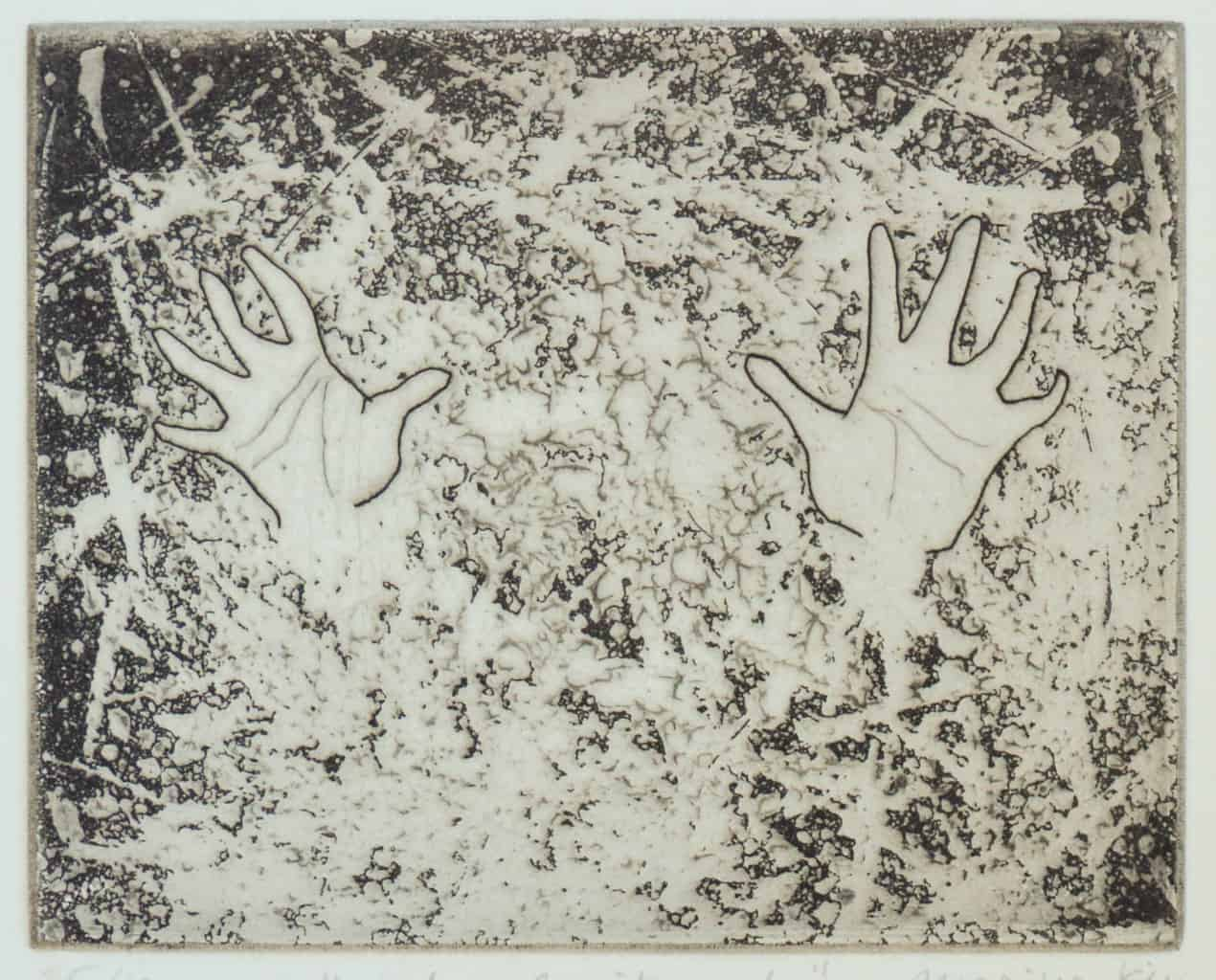 """""""Excitement"""" - image from the """"Hands"""" series featuring various stances of gesturing hands. Original print etching by painter-printmaker Marina Kim"""