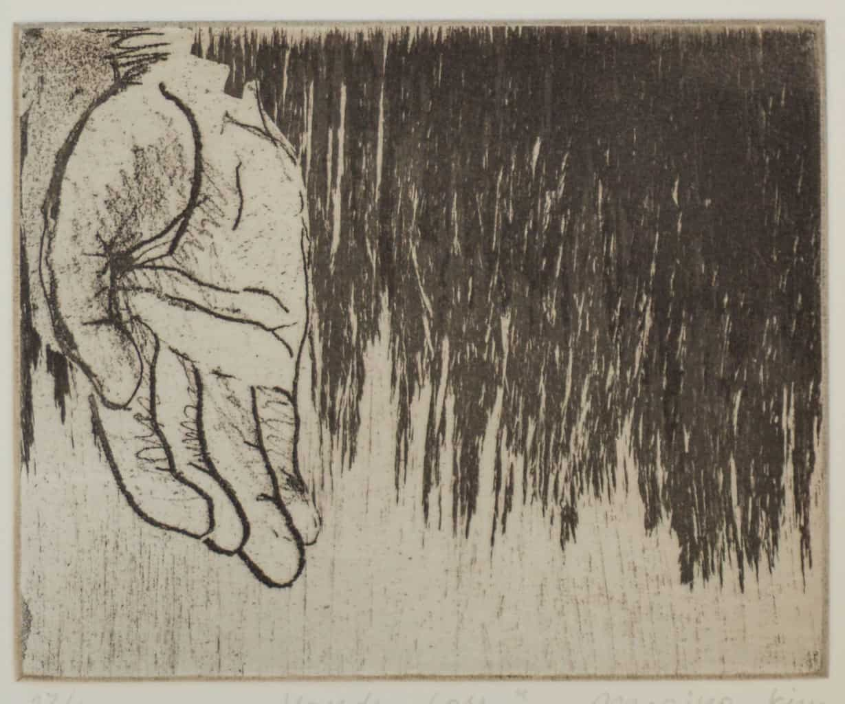"""""""Loss"""" - image from the """"Hands"""" series featuring various stances of gesturing hands. Original print etching by painter-printmaker Marina Kim"""