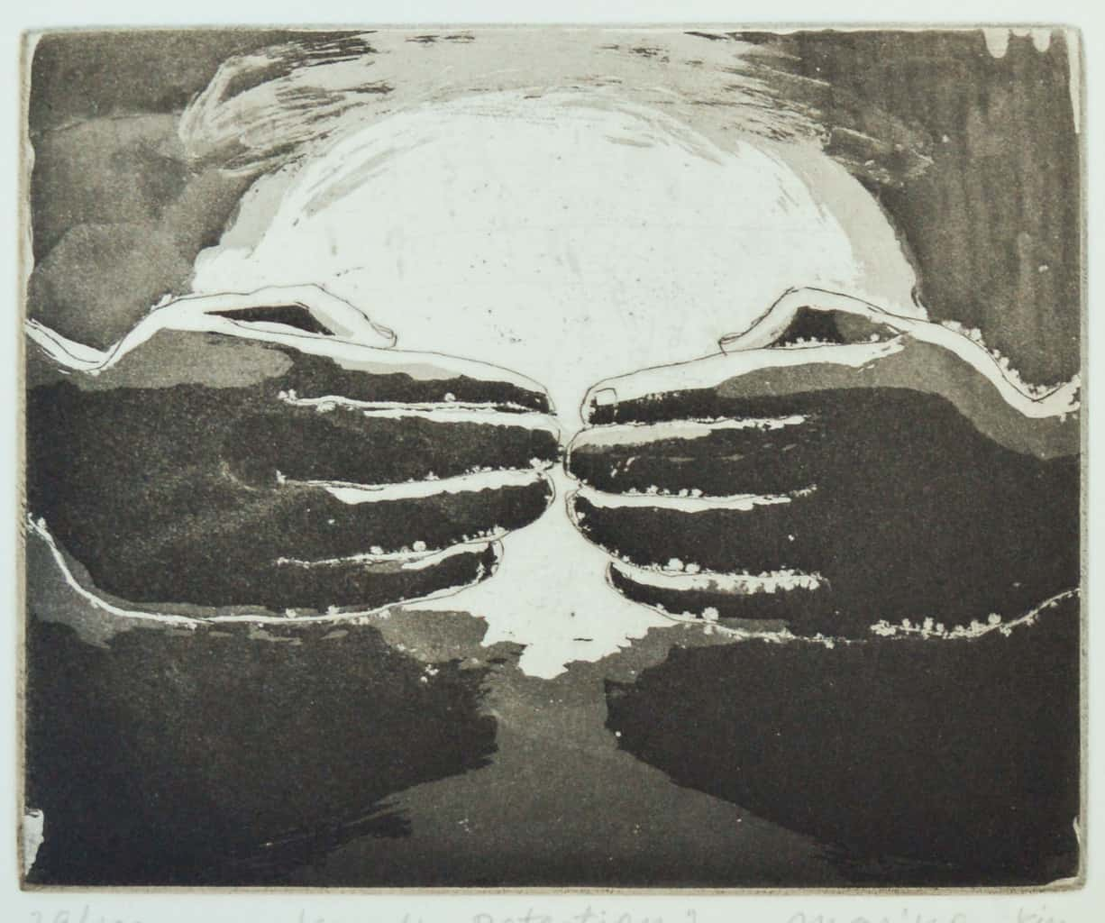 """""""Protection"""" - image from the """"Hands"""" series featuring various stances of gesturing hands. Original print etching by painter-printmaker Marina Kim"""