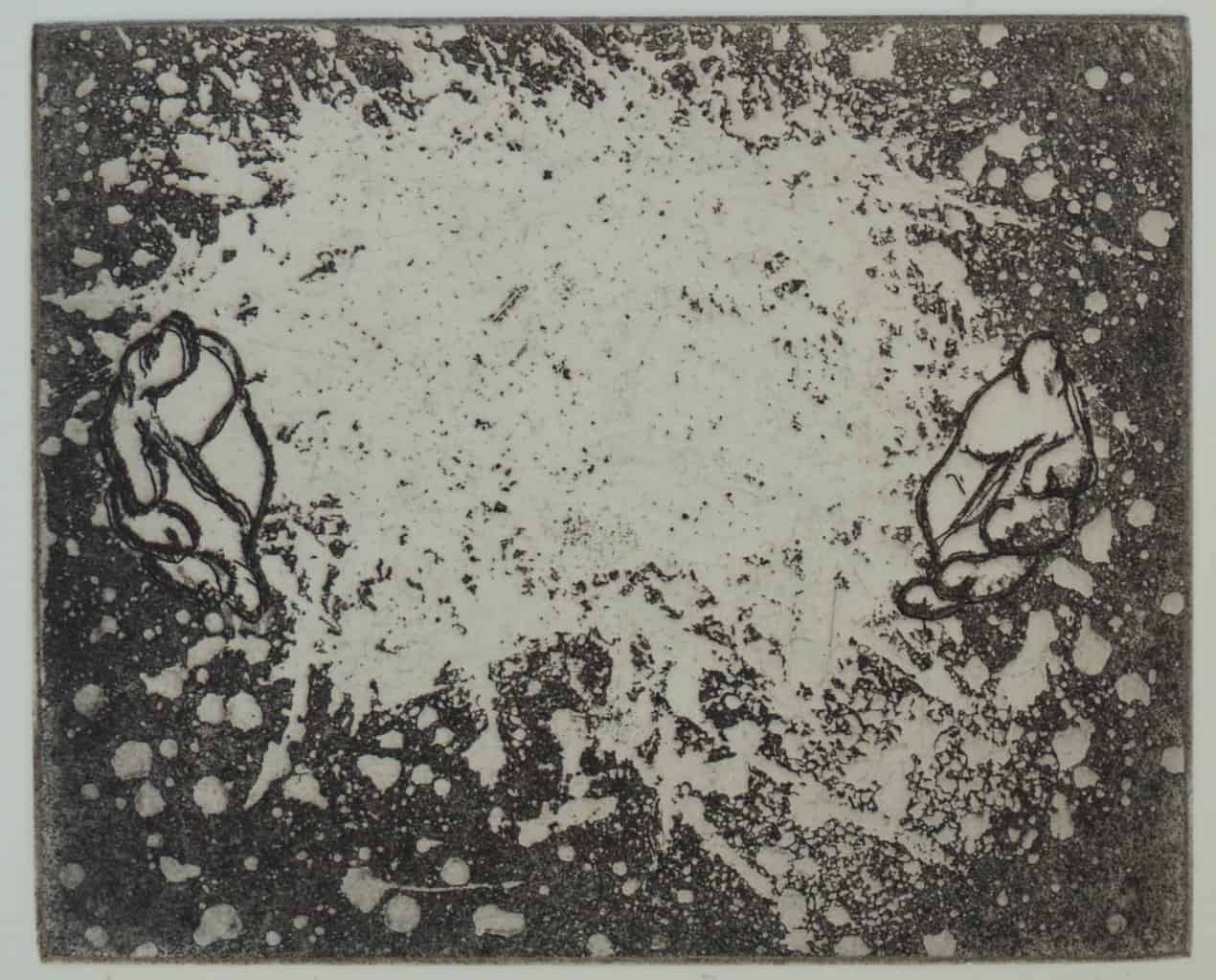 """""""Welcome"""" - image from the """"Hands"""" series featuring various stances of gesturing hands. Original print etching by painter-printmaker Marina Kim"""
