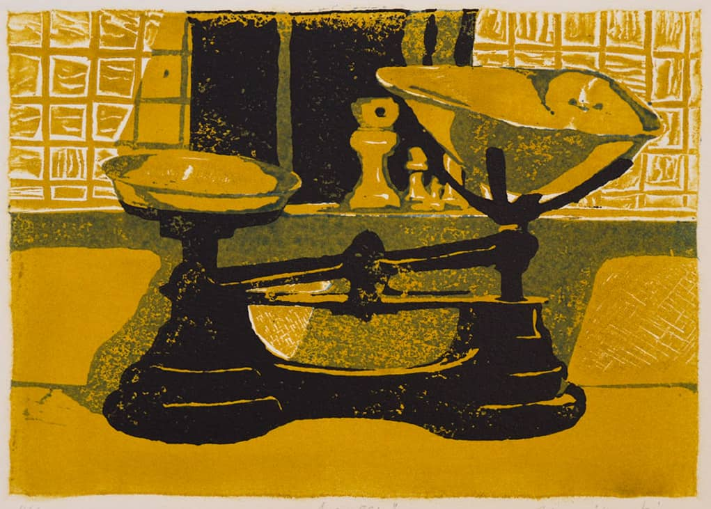 """""""Kitchen Scales"""" - black yellow and white picture of old kitchen scales. Original print linocut by painter-printmaker Marina Kim"""