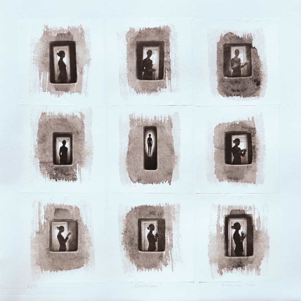 """""""Questions"""" A grid of nine pictures of a woman in motion, silhouetted against a doorway. Original print mezzotint and Chine colle by painter-printmaker Marina Kim"""