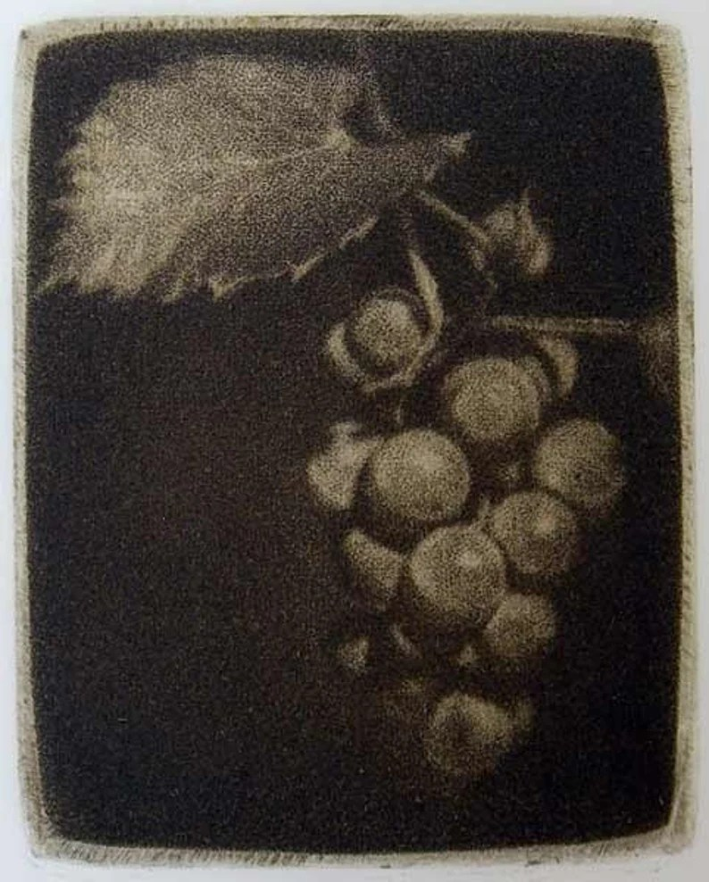 """""""Grapes"""" - black and white miniature picture of a bunch of grapes with a leaf. Original print mezzotint by painter-printmaker Marina Kim"""