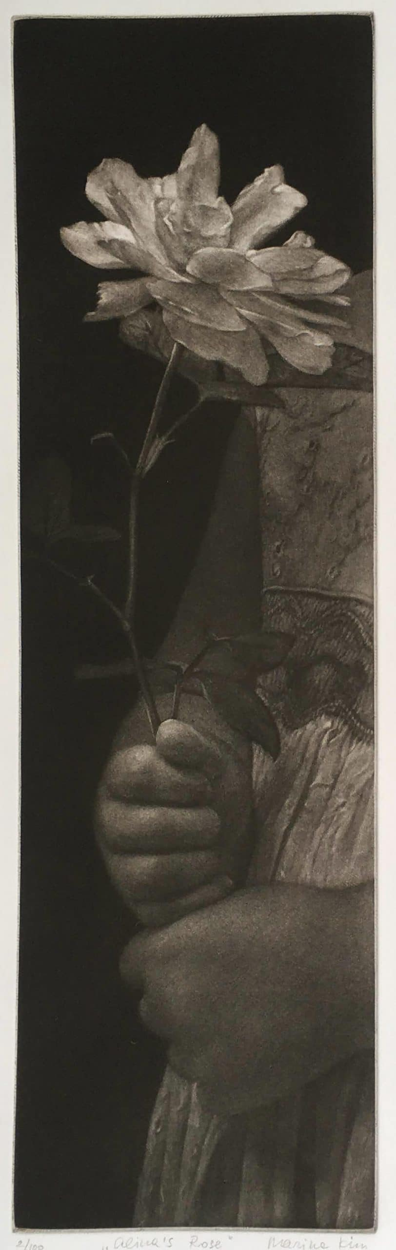 """""""Alina's Rose"""" - black and white picture of a child's hands holding a rose. Original print mezzotint by painter-printmaker Marina Kim"""