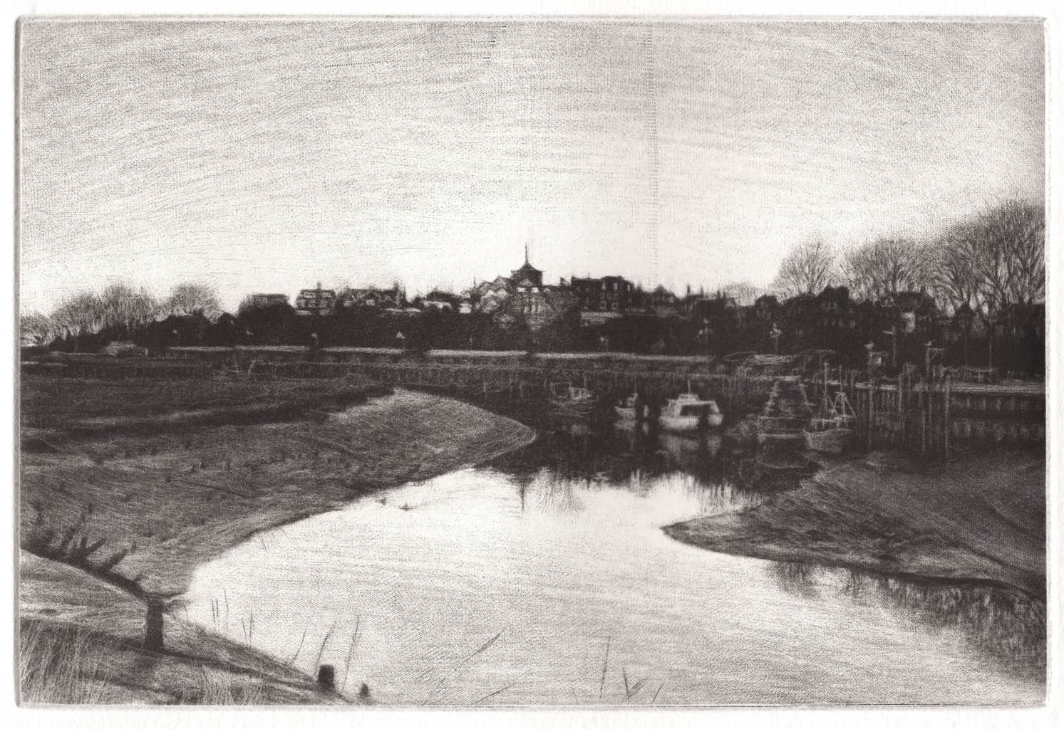 """""""Rye From The Bridge"""" - Black and white picture of Rye, East Sussex, England, across the river Rother. Original print mezzotint by painter-printmaker Marina Kim"""