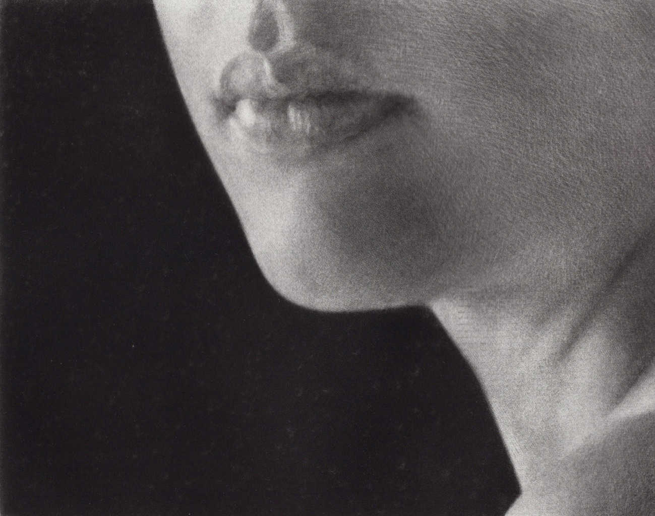 """""""Words"""" 2 - Fragment of a woman's face in three quarters turn on the black background. Original print mezzotint by painter-printmaker Marina Kim., recepient of the IPCNY printmaking award"""