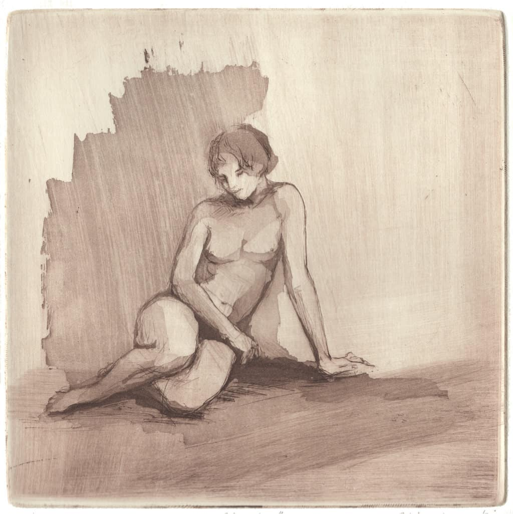 """""""Nude Study"""" - line drawing with washes of a female nude model. Original print drypoint with aquatint by painter-printmaker Marina Kim"""
