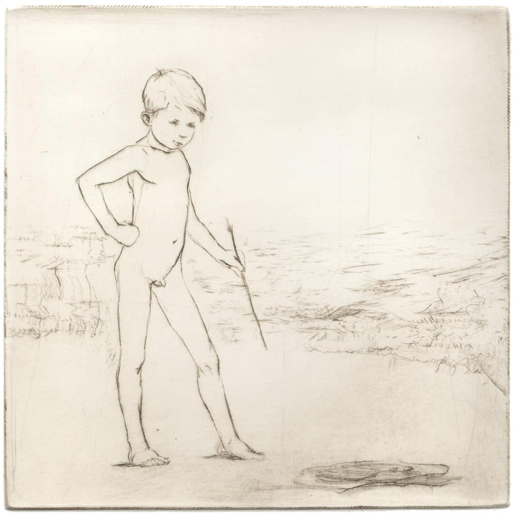 """""""Artist by the Sea"""" 1 - picture of a boy on the beach, drawing with a stick on sand. Original print drypoint by artist Marina Kim"""