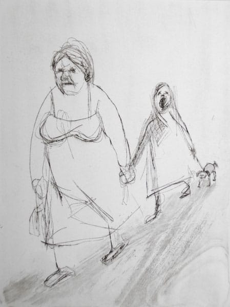 """""""Come on!"""" - line drawing of a mother with a child and a dog walking. Original print etching by British painter-printmaker Marina Kim"""