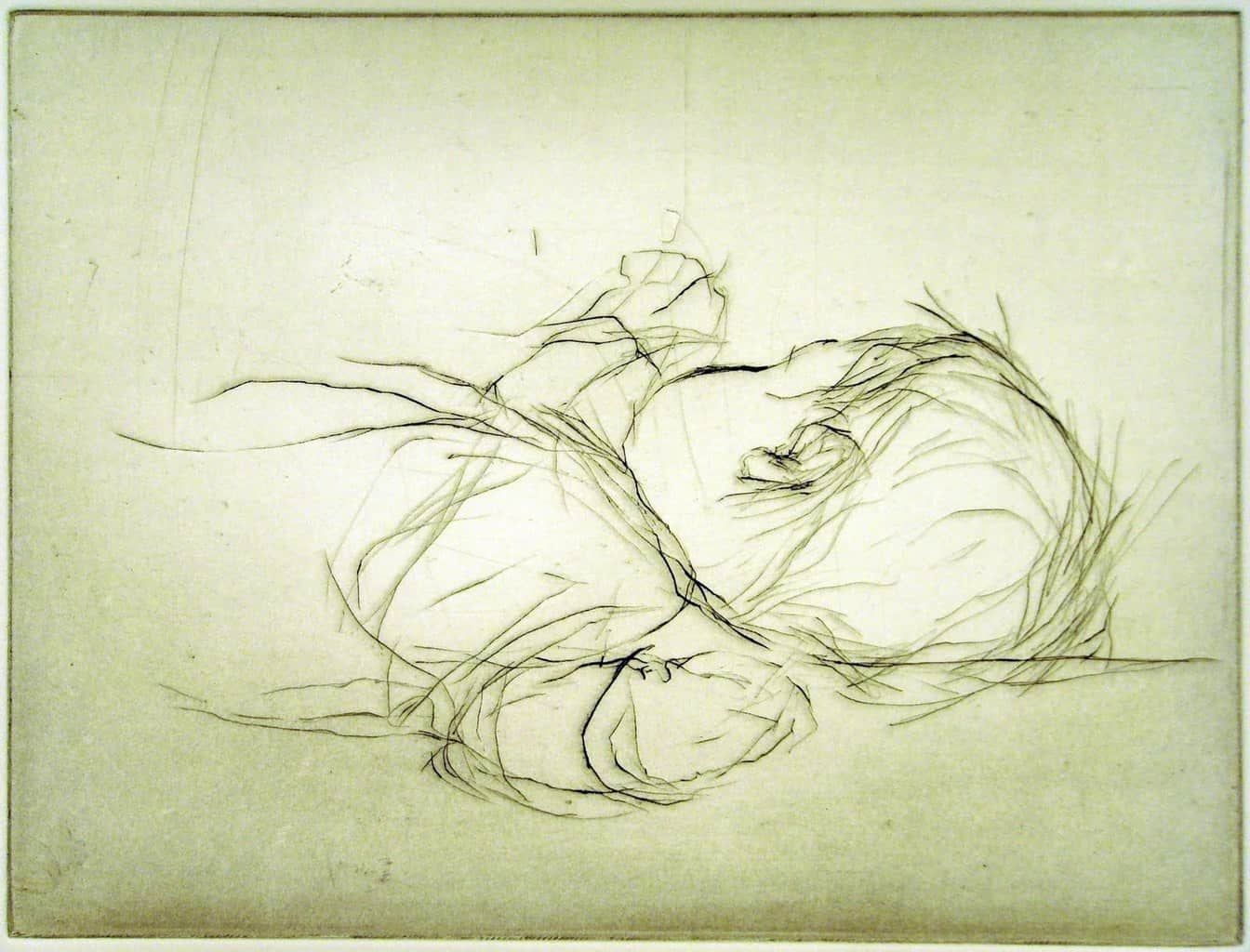 """""""Flat Out"""" - drawing of a baby sound asleep. Original print drypoint by artist Marina Kim"""