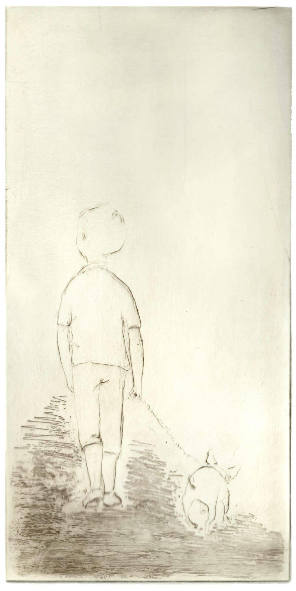 """A Walk"" - line drawing of a boy walking with a dog, French Bulldog. Original print drypoint by British painter-printmaker Marina Kim"