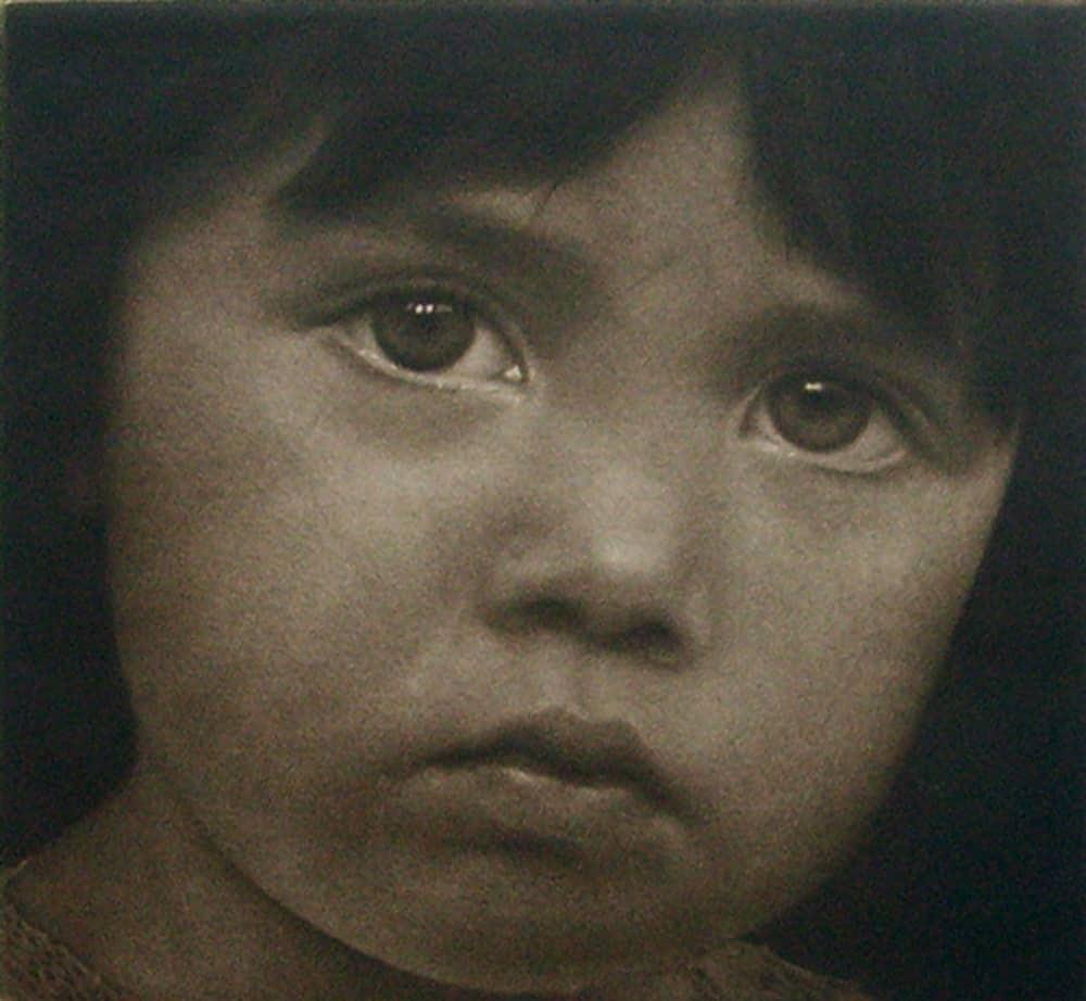 """Alina's Faces"" 1 - Portrait of a young girl with solemn inquisitive expression. Black and white picture. Original print mezzotint portrait by portrait artist Marina Kim"