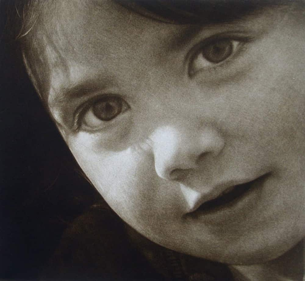 """""""Alina's Faces"""" 3 - Portrait of a young girl with a questioning. Black and white picture. Original print mezzotint portrait by portrait artist Marina Kim"""