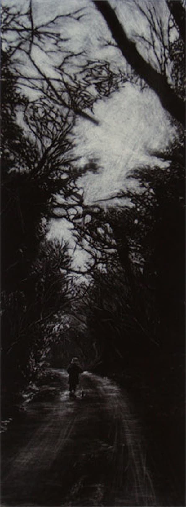 """""""Through the Woods"""" - picture of a little girl with a scooter walking along the track in the woods. Original print mezzotint by painter-printmaker Marina Kim"""