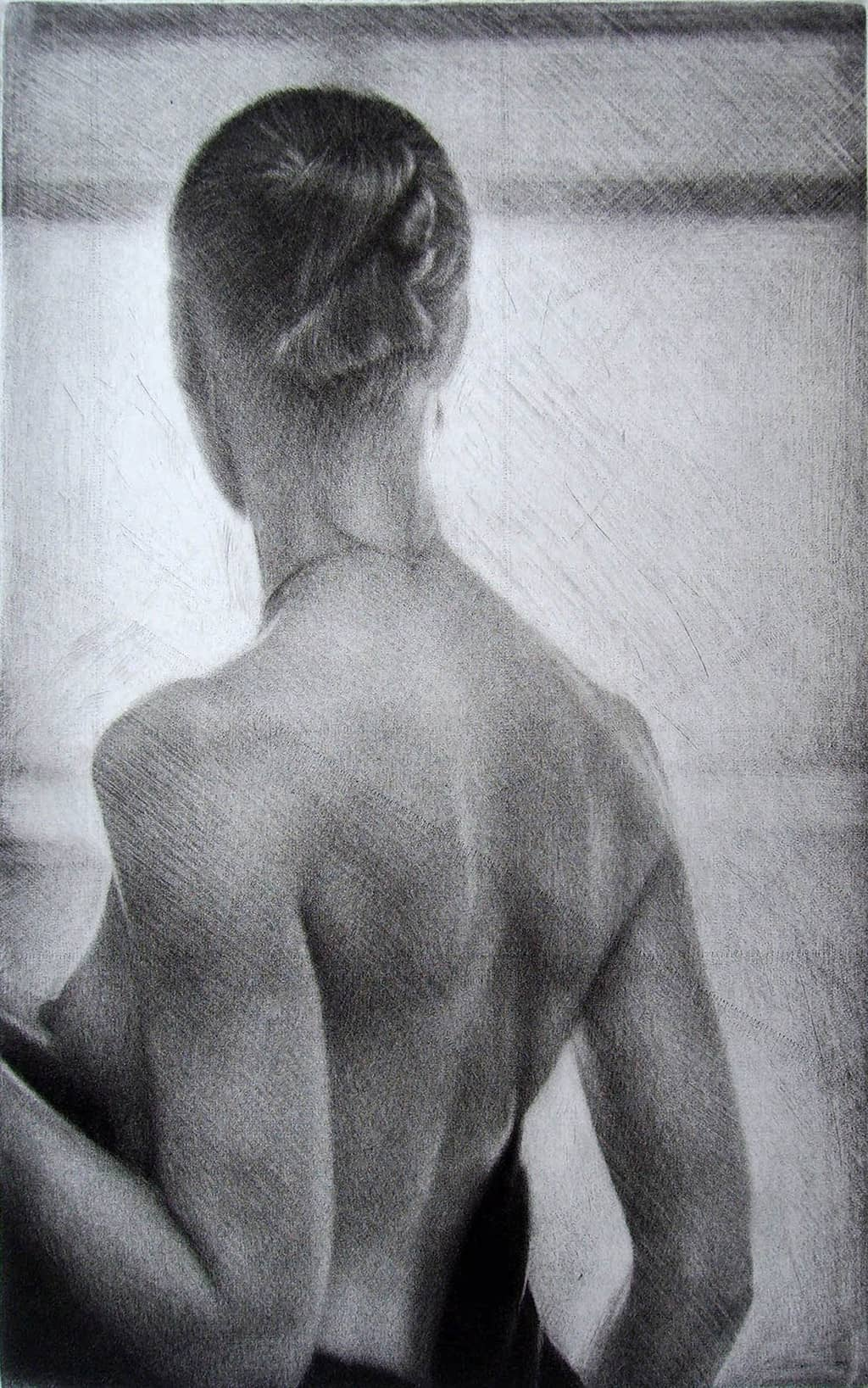 """""""Sun"""" 2 - Back view of a female model wrapping herself in a shawl. Original print mezzotint by painter-printmaker Marina Kim"""
