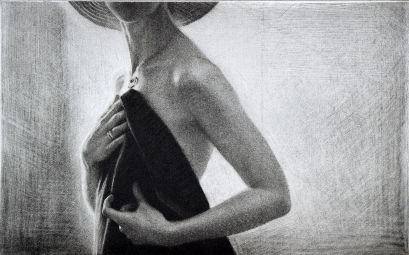 """Sun"" 3 - Female model wrapping herself in a shawl. Original print mezzotint by painter-printmaker Marina Kim"